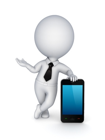 3d small person with a modern mobile phone  photo