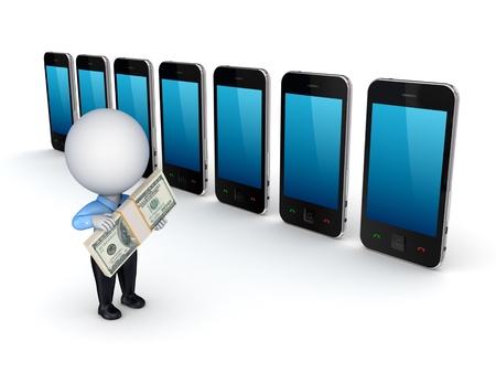 3d small person buying mobile telephone  photo