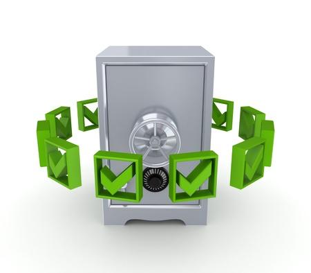 Green tick marks around iron safe Stock Photo - 14379952