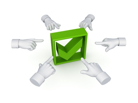 3d hand cursors around green tick mark  Stock Photo - 14380128