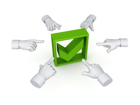 green tick: 3d hand cursors around green tick mark