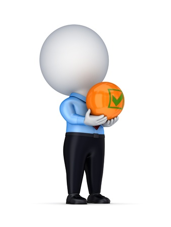 3d small person with a tick mark in a hands  Stock Photo - 14380119