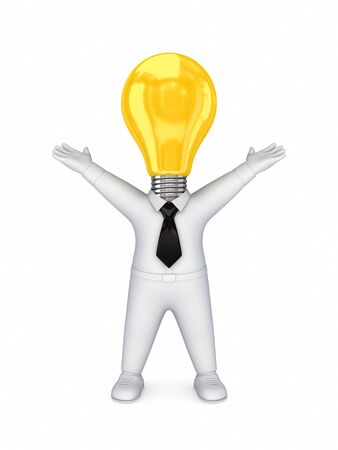 3d smal person with a lamp  instead the head  Stock Photo - 14380117
