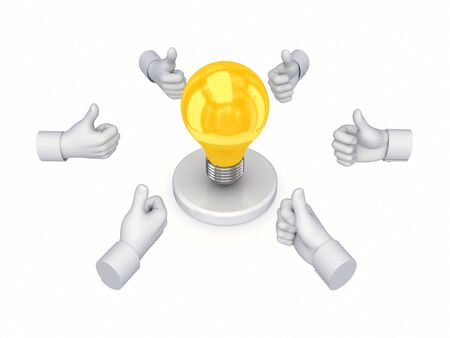 Hands with thumbs up around idea symbol  Stock Photo - 14380122
