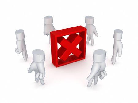Stylized cursors around red cross mark Stock Photo - 14380089