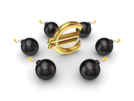 Black bombs around euro sign  Stock Photo - 14379953