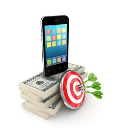 money packs: Darts, dollar packs and modern mobile phone
