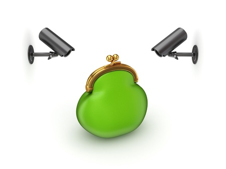 Observation cameras and green purse  Stock Photo - 14380043