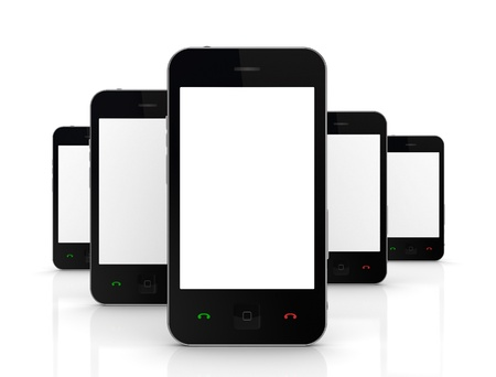 worldwide website: Modern mobile phones with touchscreen  Stock Photo