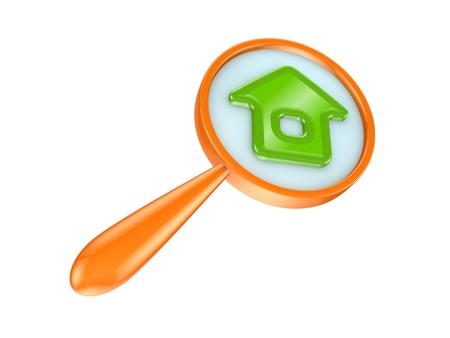 Orange loupe and green house icon Stock Photo - 14451892