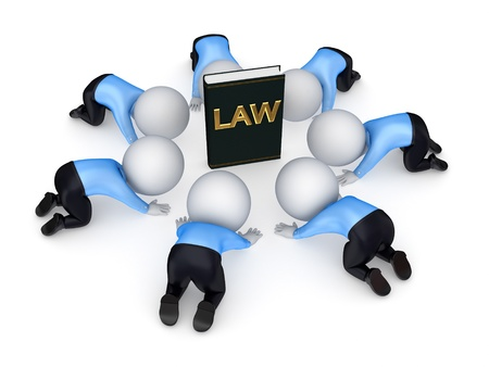 consumer rights: 3d small people around book of law