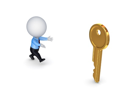 meanness: 3d small person running to a golden key