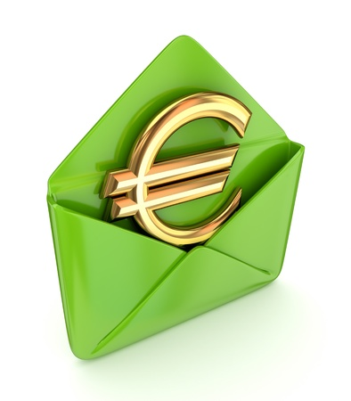 mailing: Euro sign in a green envelope