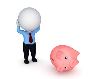bad planning: Stressed 3d small person and piggy bank  Stock Photo