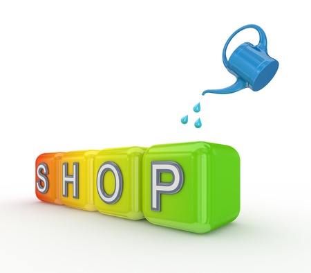 Blue bailer and colorful cubes with a word SHOP  Stock Photo - 14452121