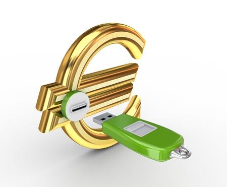 USB flash memory and euro sign  Stock Photo - 14452370