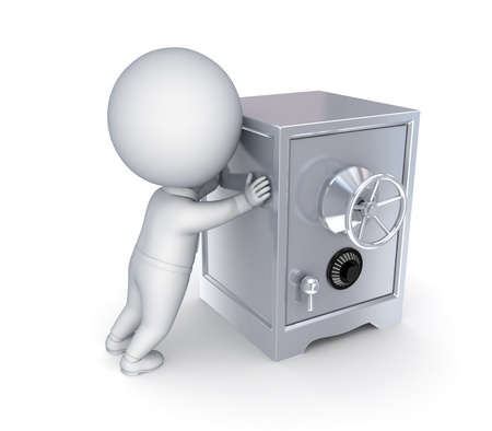 3d small person and iron safe Stock Photo - 14452316