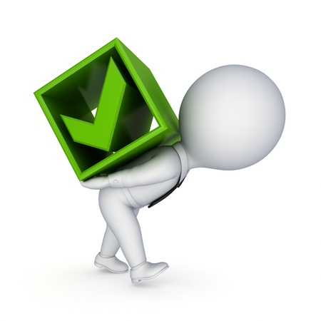 3d small person and green tick mark Stock Photo - 14452337