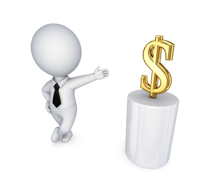 3d small person and dollar sign  photo