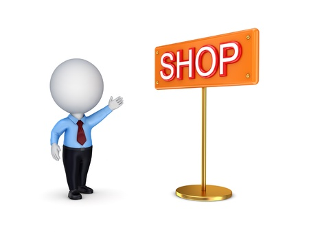 pricing: 3d small person pointing on a bunner SHOP