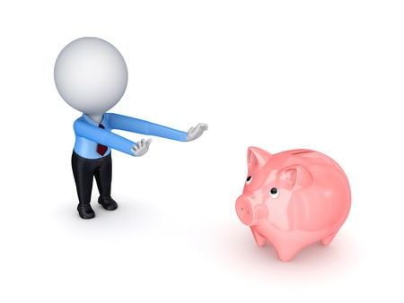 3d small person pulling hands to piggy bank  photo