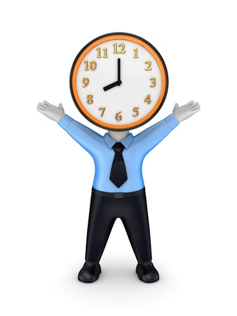 3d person with a colorful clock instead the head Stock Photo - 14452057