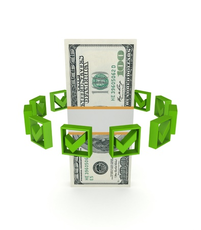 Green tick marks around dollar pack Stock Photo - 14452409