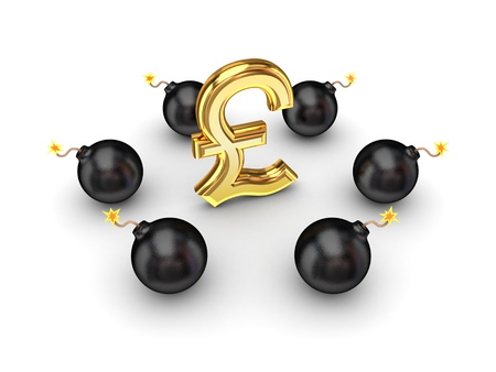 Black bombs around pound sterling sign  Stock Photo - 14452334