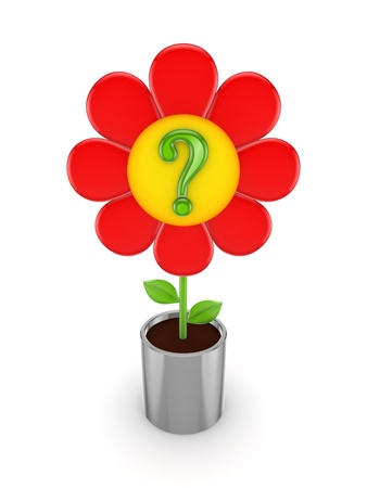 questionable request: Cute red flower with a green query mark  Stock Photo