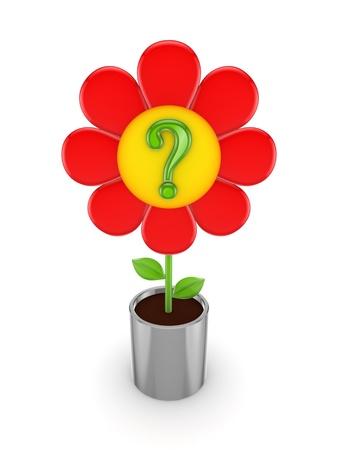 questionail: Linda flor roja con un signo de la consulta verde