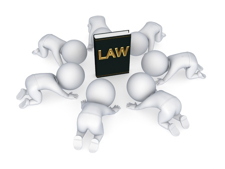 3d small people around book of law  photo