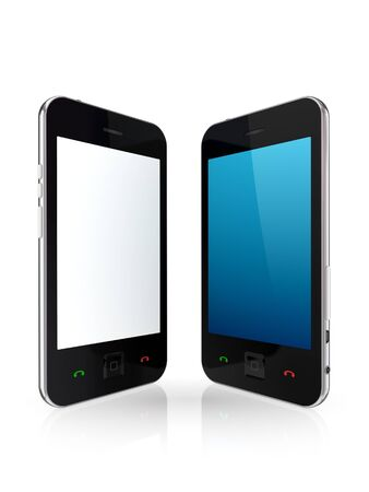 Modern mobile phones with touchscreen  photo