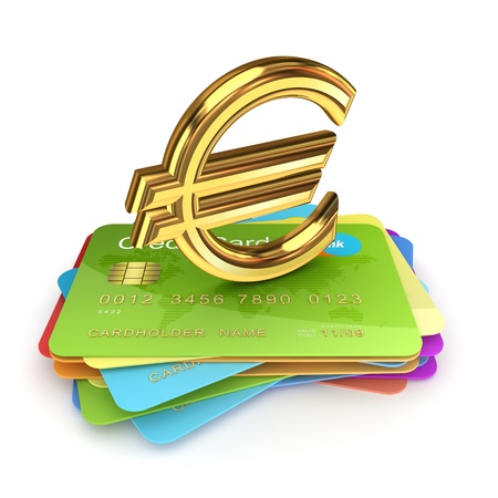 Golden euro sign on a colorful credit cards  Stock Photo - 15430413