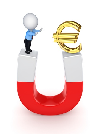 3d small person and euro sign on a horseshoe  photo