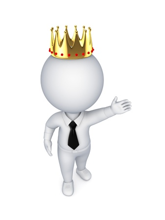 3d small person in a golden crown  photo