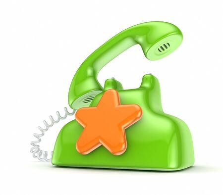 important phone call: Vintage telephone with orange star  Stock Photo