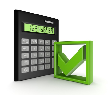 Calculator and green tick mark symbol  photo
