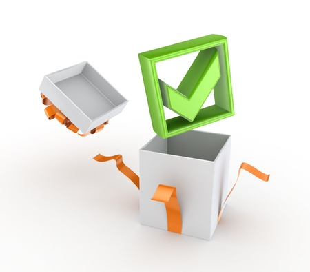 Green tick mark in a gift box  Stock Photo