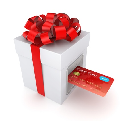 christmas debt: Credit card inserted in a gift box