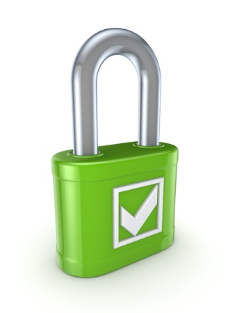 Tick mark on a green lock  Stock Photo - 15430334