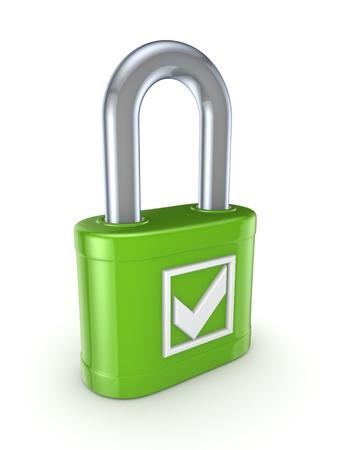 Tick mark on a green lock  Stock Photo