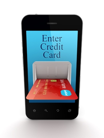 Colorful credit card connected to mobile phone  Stock Photo - 15430359