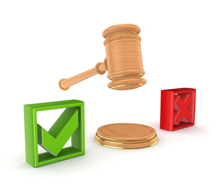 Lawyer s hammer between tick and cross marks  Stock Photo - 15430379