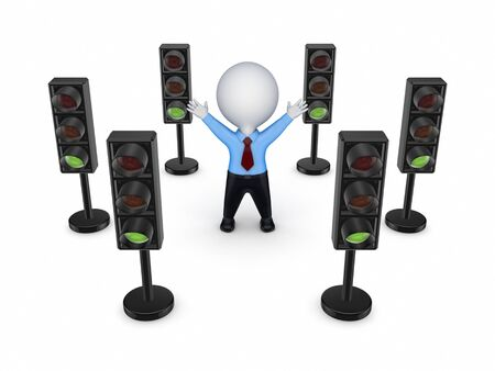 regulate: Traffic lights around 3d small person  Stock Photo