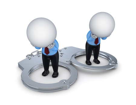 Sad 3d small people, handcuff and red sand glass  Stock Photo - 15534039
