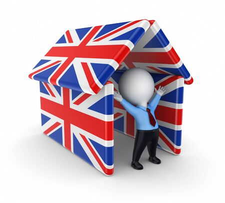 3d small person under  british flags  photo