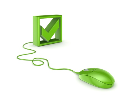 raton: Rat�n verde y marca de verificaci�n Foto de archivo