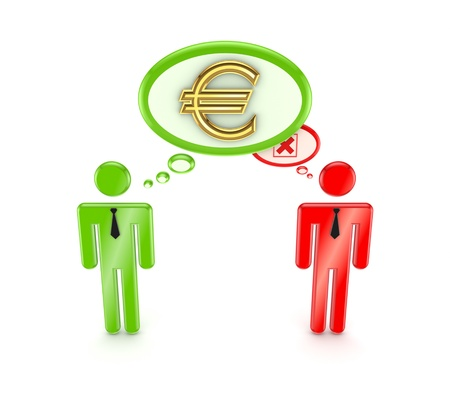 3d small people, dollar sign and red cross mark Stock Photo - 15534609