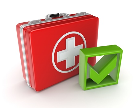 Red medical purse and green tick mark  photo