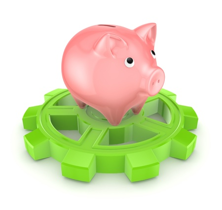 Pink piggy bank on a green gear  photo